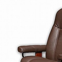 6124/Stressless/Consul-Small-Chair-and-Stool-(Batick-Brown-and-Brown-Base)