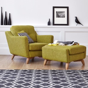 Charming Armchairs And Footstools In Leather And Fabric