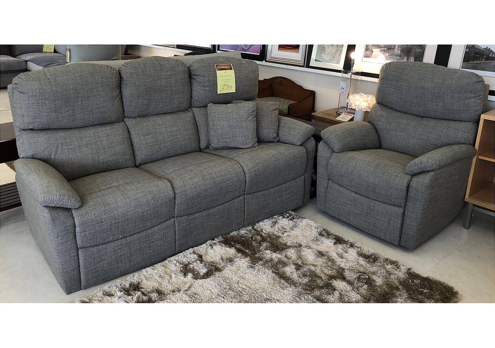 Vale Furnishers Aspen Three Seat Sofa and Power Recliner Chair