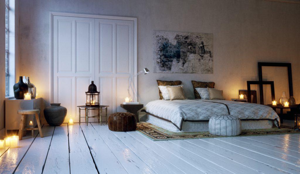 old loft apartment bedroom lid by candle lights - Schlafzimmer in Altbau Wohnung im kerzenlicht