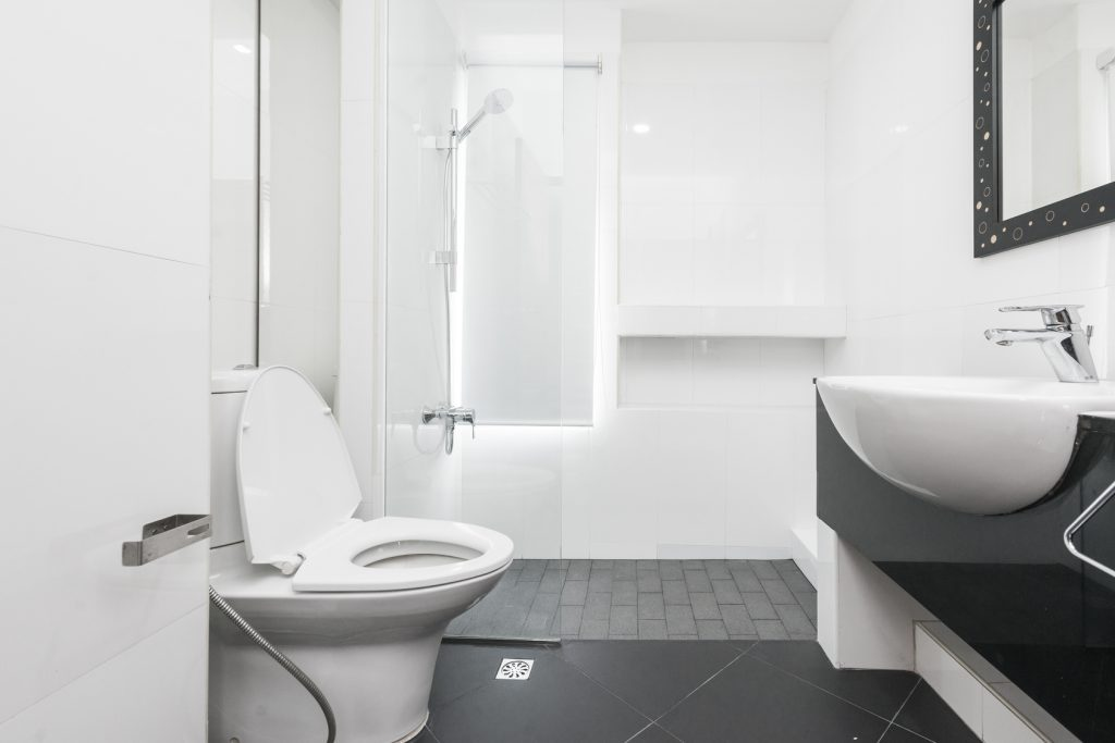 White toilet bowl in the bathroom for small bathroom ideas
