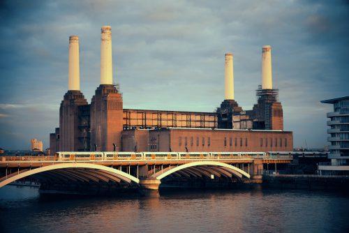 Battersea Power Station over Thames river as the famous London landmark.