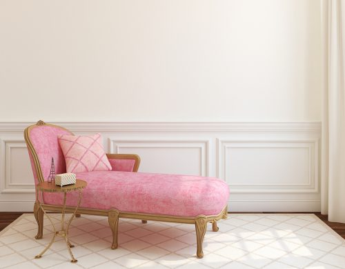 Modern living-room interior with pink couch near empty white wall. 3d render.