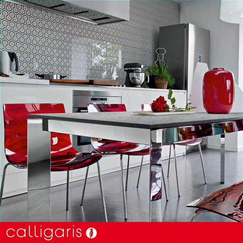Calligaris - Baron ML180 Extending Dining Table - Chrome Triangular Legs